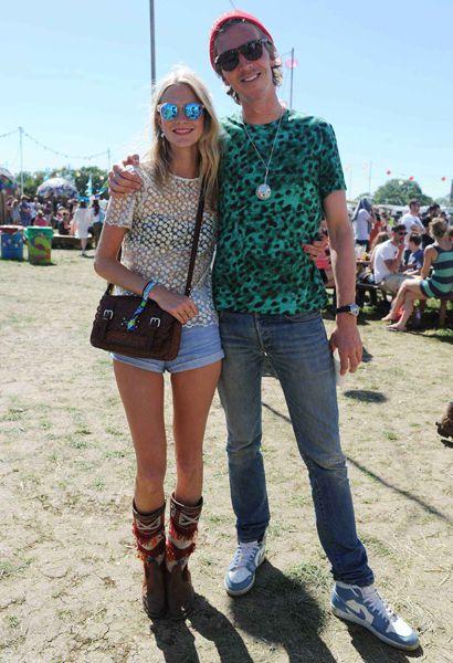 Poppy Delevingne with fiancé James at Glastonbury 2013