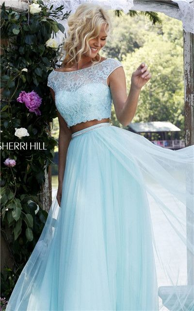 Light Blue Two-Piece Beaded Cap Sleeves Long Prom Dresses 2016 Sherri Hill 50038