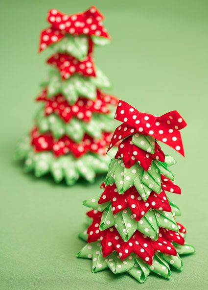 Ribbon Christmas Tree Craft | Christmas recipes and craft ideas! Festive ribbon Christmas trees ...