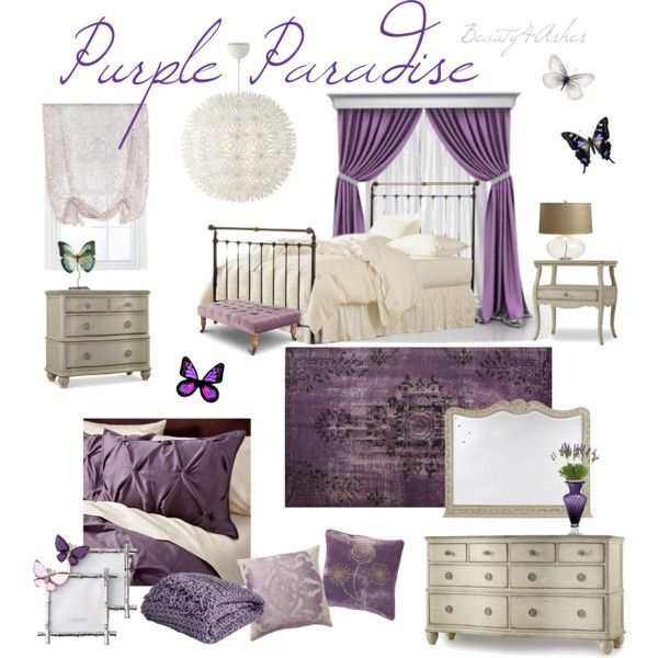 """Purple Paradise"" tween girl bedroom moodboard"