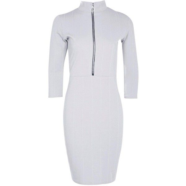 Boohoo Tara Zip Turtle Neck Rib Bodycon Dress ($11) ❤ liked on Polyvore featuring dresses, white skater dresses, white dress, bodycon mini dress, jersey maxi dress and party dresses