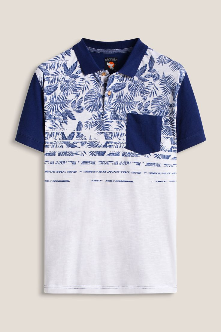 Esprit / Printed jersey polo shirt, 100% cotton