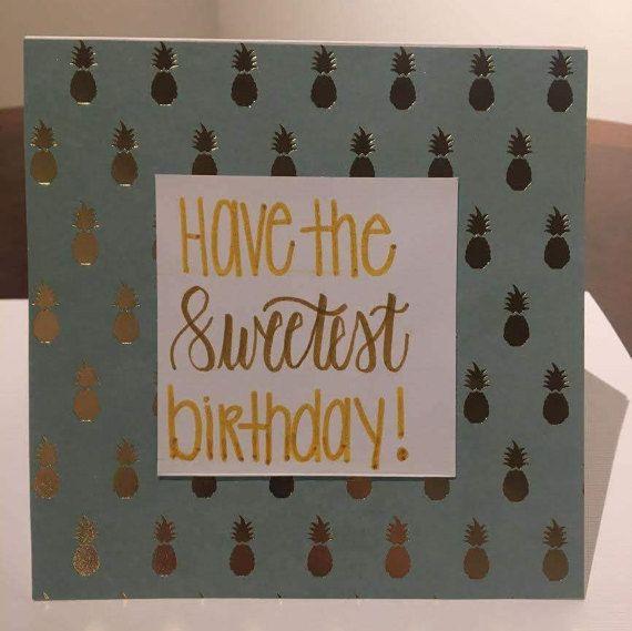 Teal & Gold Pineapple Birthday Card// Pineapple Birthday // Preppy Birthday // Personalized Birthday Card // Handmade // Modern Calligraphy