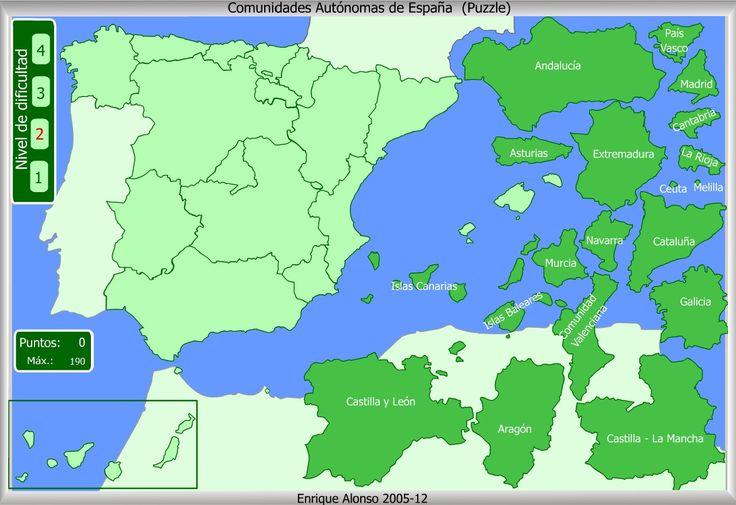 Mapa interactivo de España Comunidades Autónomas. Puzzle - Mapas Interactivos