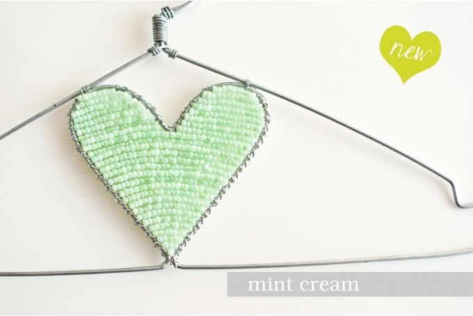 Mint Cream Beaded Heart Hanger by The Desert Rose Project