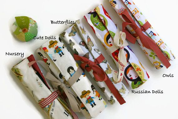 Girls Pencil Rolls  Choose Your Own Fabric  Pencil by 20FourAcres