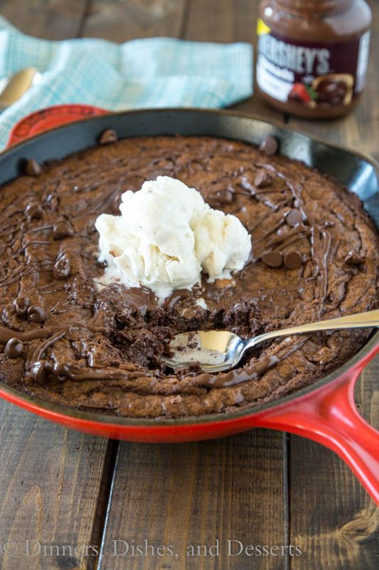 Triple Chocolate Brownie Skillet - warm, gooey, and lots of chocolate!  {Dinners, Dishes, & Desserts}