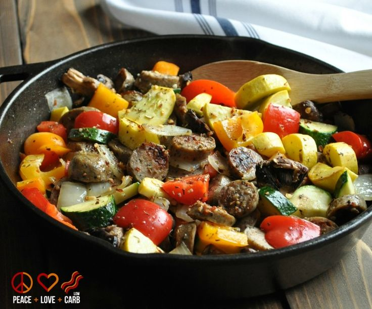 Chicken Sausage and Vegetable Skillet - Low Carb, Paleo, Gluten Free | Peace Love and Low Carb