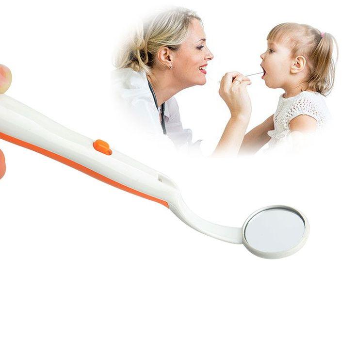 1 pc LED Dental Mouth Mirror ABS Handle Anti Fog Curve Angle Teeth Whitening Ora…