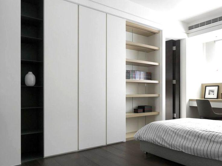 Modern White Sliding Doors Bedroom Built-in Wardrobe