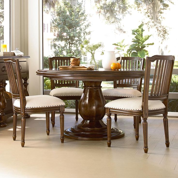River House 5 Piece Dining Set With Round Pedestal Table And Pull Up Side Chairs By Paula Deen Universal At Johnny Janosik