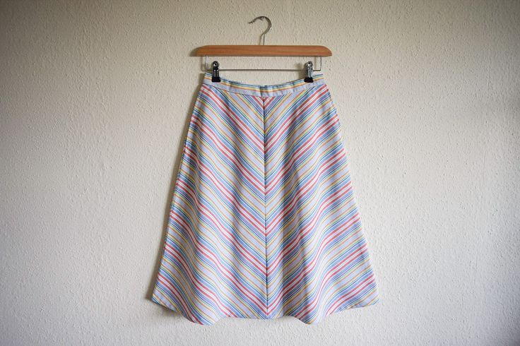 Vintage 1970s Pastel A-Line Skirt Size 6-8 / Retro Stripy Multi Coloured Skirt Size Small by LuckyThreadsVintage on Etsy