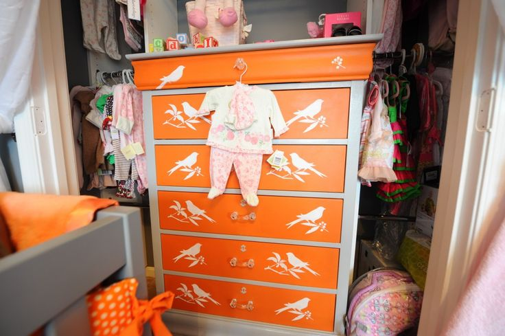 Craigslist dresser painted orange and decals added - so fun!: Daughters Rooms, Old Dressers, Paintings Dressers, Paintings Dresserwithout, Projects Nurseries, Baby Rooms, Orange Dressers Nurseries, Kids Rooms, Stencil Dressers