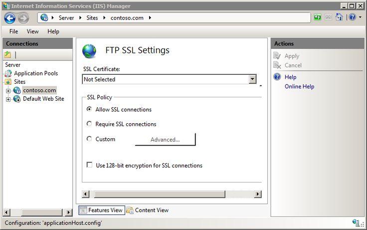 FTP over SSL <ssl> : The Official Microsoft IIS Site