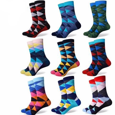 Fun and Funky Argyle Pattern Dress Socks (20 options)