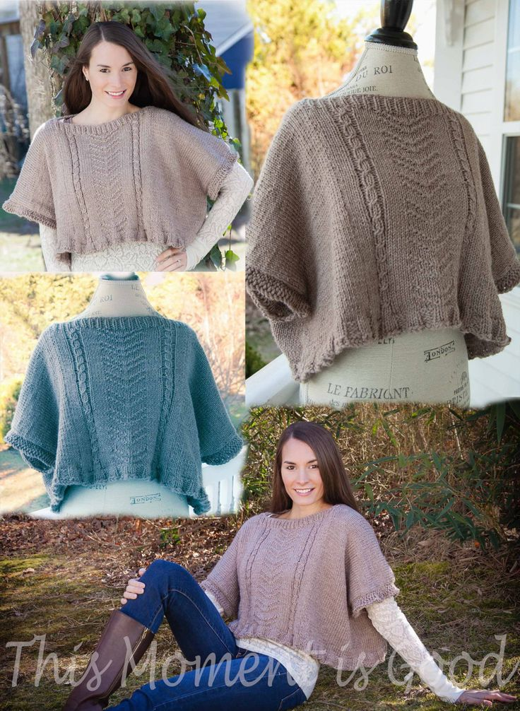 Loom knit poncho, topper pattern by This Moment is Good!