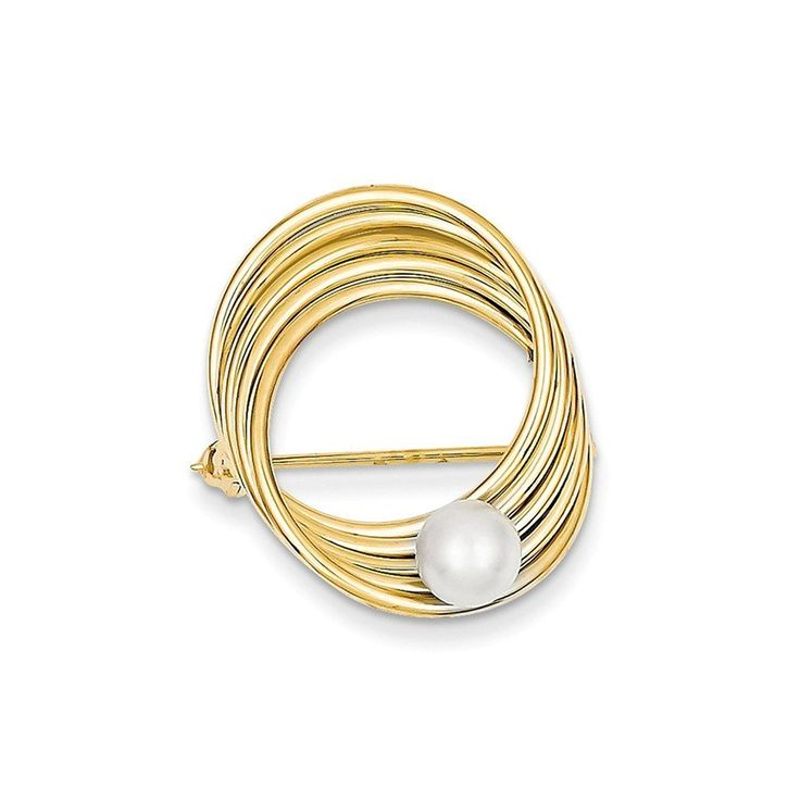 14K Gold Freshwater Cultured Pearl Pin (0.94 in x 0.87 in) ** You can get more details by clicking on the image. (This is an Amazon Affiliate link and I receive a commission for the sales)