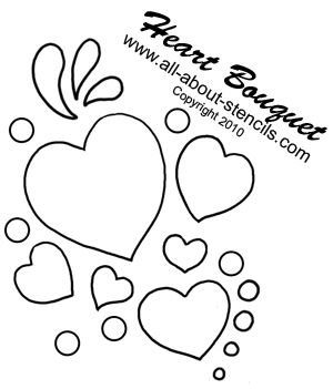 Free Printable stencils including Heart Bouquet Stencil from www.all-about-stencils.com