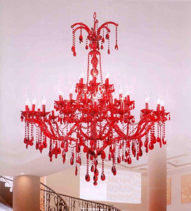 Lighting Astonishing Red Crystal Chandelier Models Luxury Interior Living Room Furniture Idea Beautiful