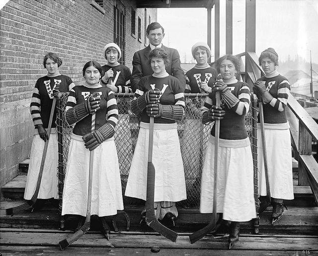 Vancouver Ladies' hockey team circa 1920 (via City of Vancouver Archives Flickr)