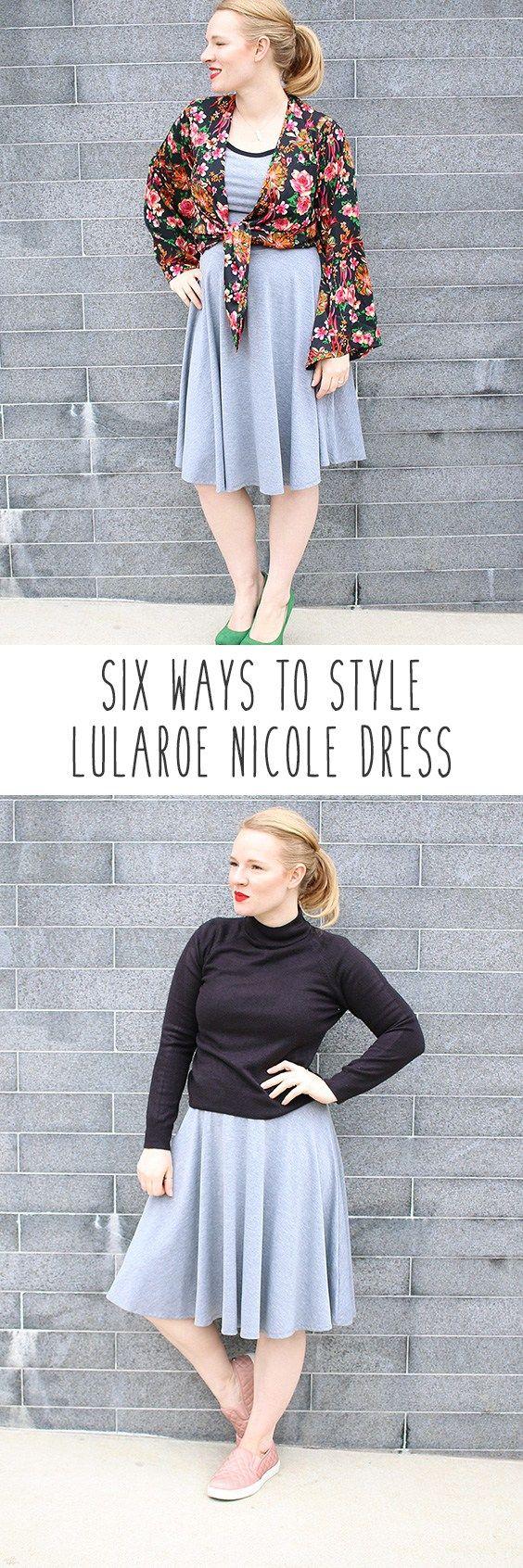 How to style Lularoe Nicole Dress! You love the Lularoe Nicole dress but can't figure out how to style it? LuLaRoe Nicole for work or play!