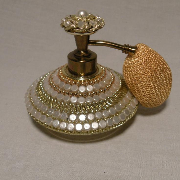 Vtg Irice Glass Perfume Atomizer Bottle w Goldtone Beads Pearl | eBay