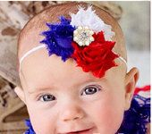 Baby Girls 4th of July Patriotic Red White Blue Shabby Chic Headband Little Girls headband for 4th of July Babies Girls Teens Vintage by BabyGirlTutus on Etsy