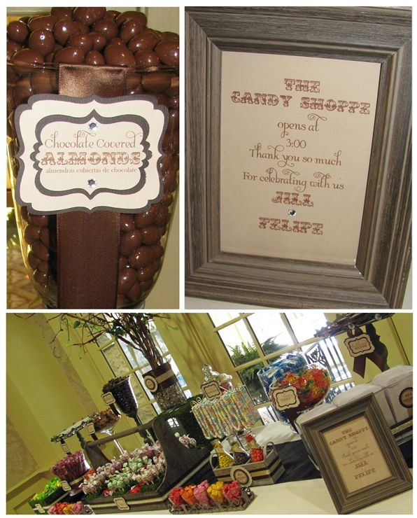 Rustic Candy Buffet for St. Clements Castle Wedding- Adorable and love the candy necklaces for the kids!