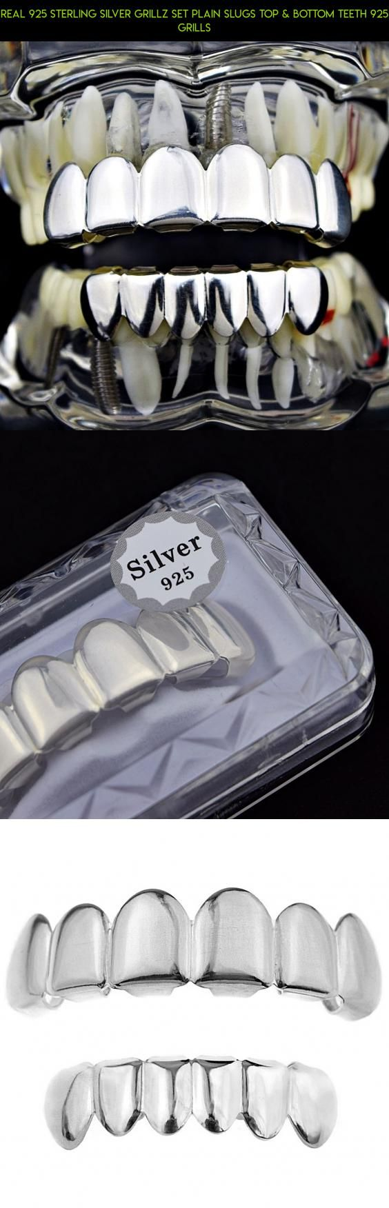 Real 925 Sterling Silver Grillz Set Plain Slugs Top & Bottom Teeth 925 Grills #parts #kit #gadgets #set #technology #shopping #drone #camera #products #fpv #racing #grills #plans #tech