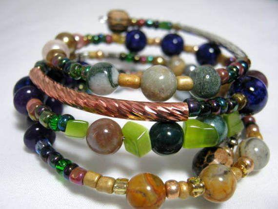 Long Beads Memory Wire Bracelet Wrap Memory Wire Bracelet