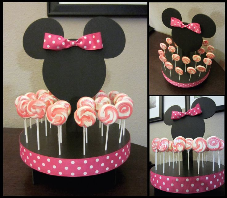 Mouse Inspired (HOT PINK) Cake Pop, Lollipop Stand or Cupcake holder.  via Etsy.