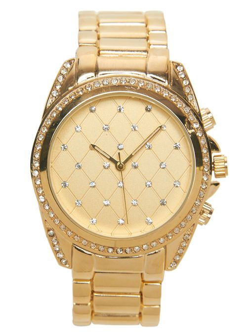 Quilted Rhinestone Metal Watch