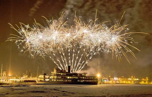 :   	Lake George Winter Fireworks Cruise  	Photo Credit: Luke Dow