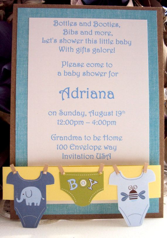 Baby shower invitation boys onesie clothesline by for Baby clothesline decoration baby shower