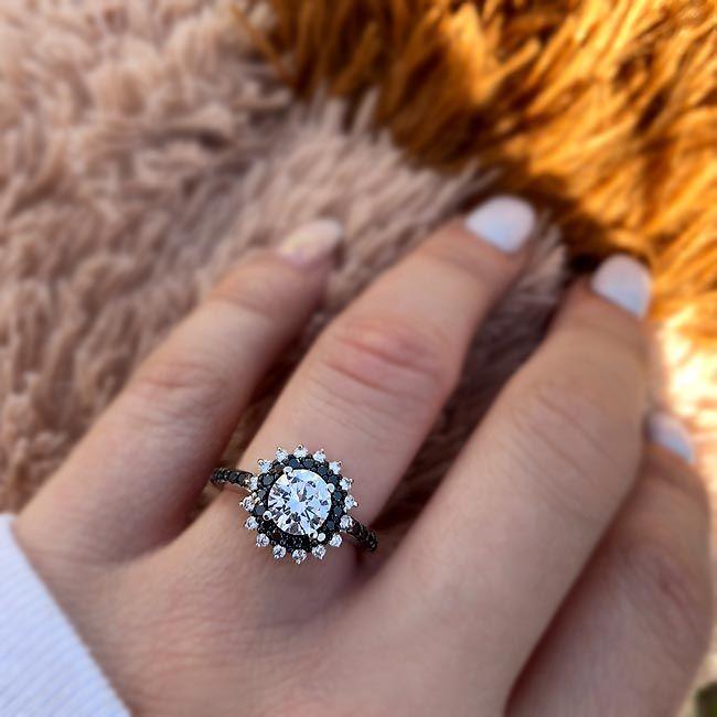 Barkev S Black Diamond Engagement Ring 7969lbk Black Diamond Ring Engagement Vintage Engagement Rings Black Diamond Engagement