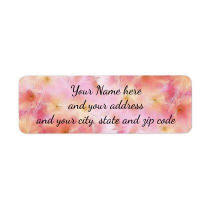 Pastel pink abstract flowers label - floral style flower flowers stylish diy personalize