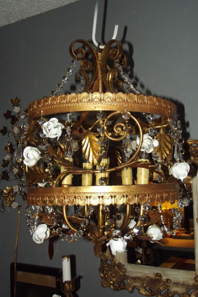 French Wedding Cake Tole White Rose Chandelier Pendant Antique Petite Gorgeous!