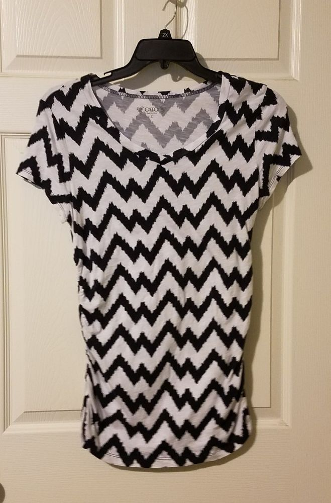 Women's Large Cato Short Sleeve Chevron Shirt With Side Elastic  #Cato #KnitTop #Casual