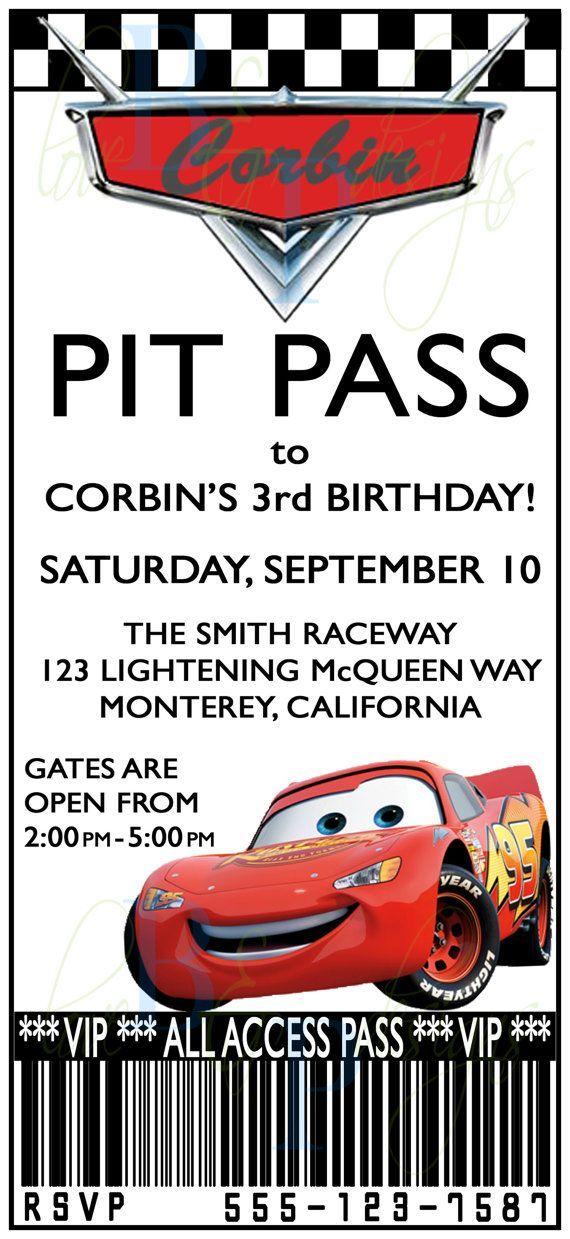 birthday invitations   free printable cars pit pass