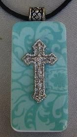 Turquoise cross domino necklace, Seen these at the crafts shows, so pretty :)