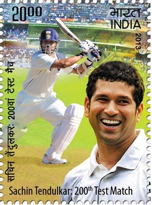 """14 November 2013 A postage stamp on """"Sachin Tendulkar 's 200th Test match"""" Denomination - INR 20.00 #mnilay, #stamps , #indianstamps"""