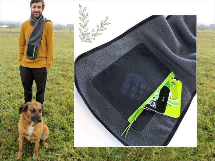 Good Gifts for Guys: Fleece Scarf with Zippered Pocket | Sew4Home #sewing