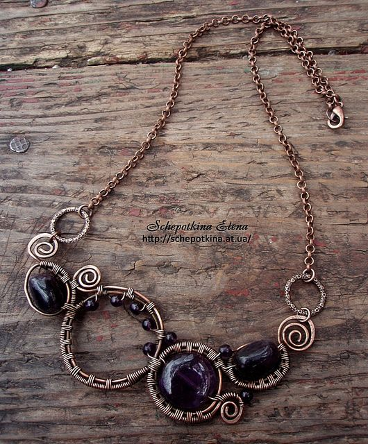 """wire wrapped necklace """"aмели"""" by schepotkina, via flickr"""