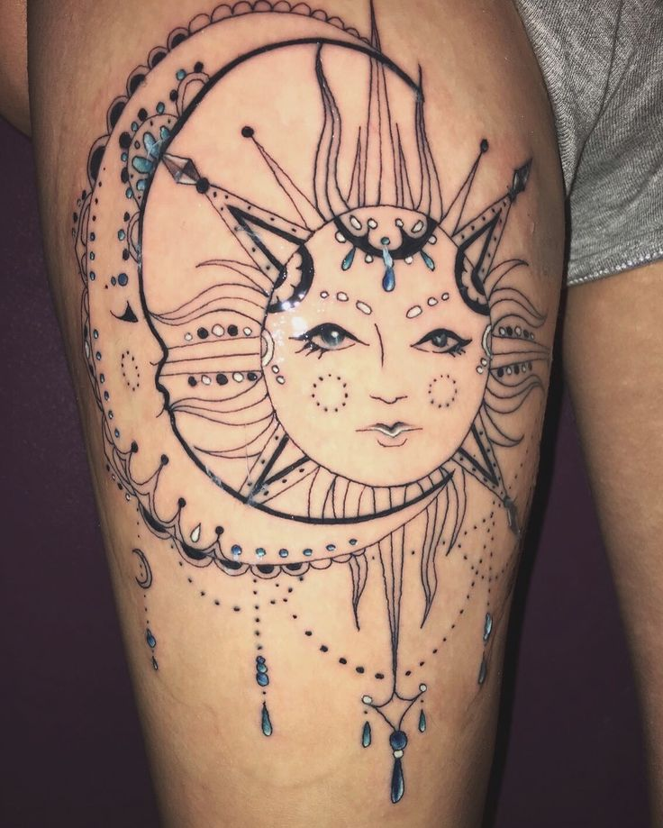 """My new addition on my thigh. Life spiritual """"Live by the sun, feel by the moon"""" ( Lucky13 Ipswich tattoo studio ) ✨"""