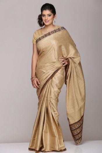 Gold Cotton Silk Saree on www.indiainmybag.com/gitanjalicreations.html