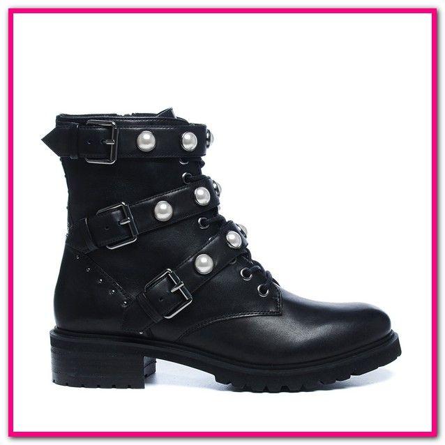 Schwarze Stiefeletten Mit Perlen HERIXO Damen Schuhe
