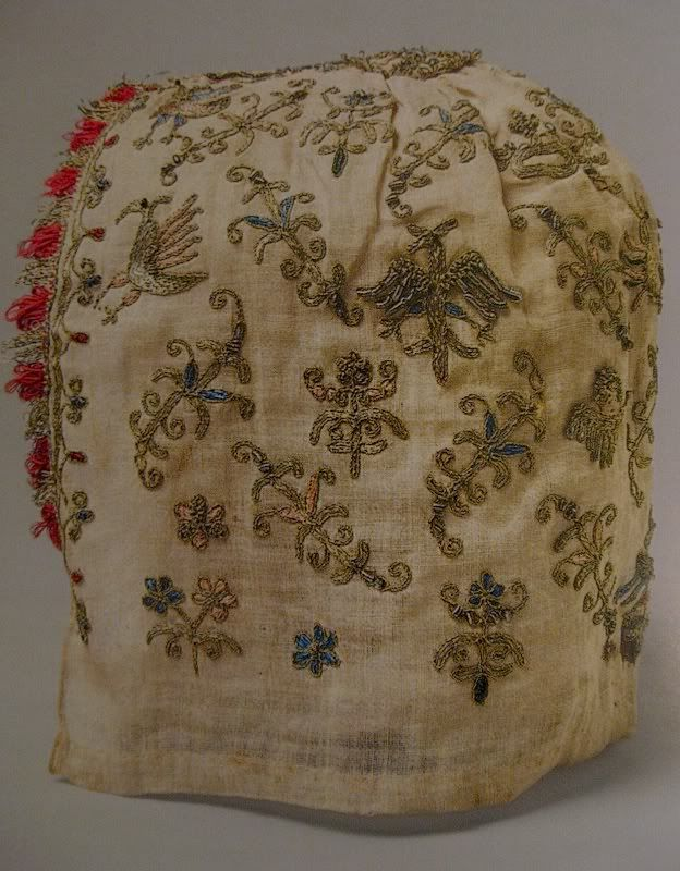 Linen cap with silk and metal embroidery and glass beads, Venetian, circa 1500-1525 (The Met, New York)