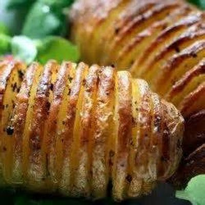 Air+Fried+Hasselback+Potatoes+@keyingredient+#bacon