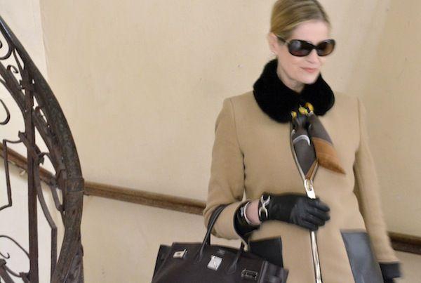 'Monsieur et Madame' Hermes scarf with black mink collar and Birkin