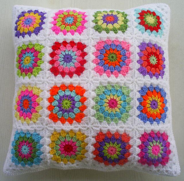 hippie happy granny square cushion cover by riavandermeulen, via Flickr